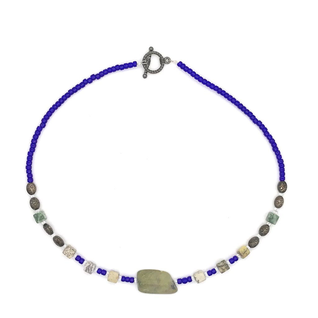 Serpentine and Jasper Stone Necklace