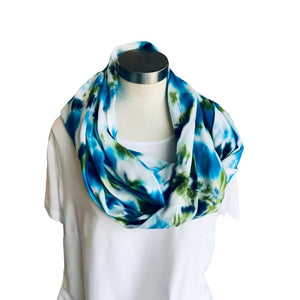Eliptical Rayon Scarf (White, Turquoise and Green)