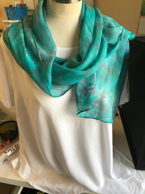 Silk Chiffon Scarf in Shades of Turquoise & Greens