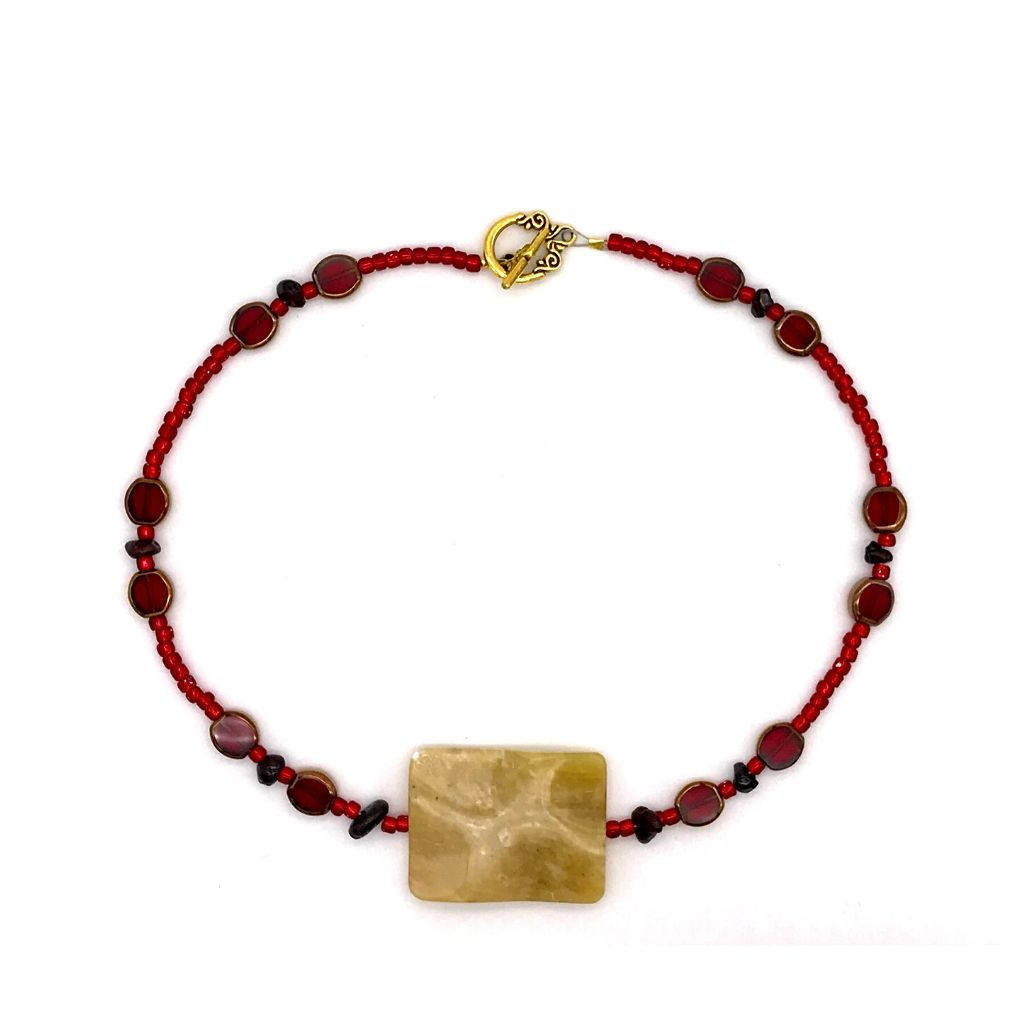 Deep Red Glass Necklace with Rustic Quartz