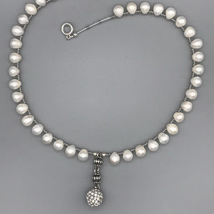 Freshwater Pearl Necklace with Rhinestone Bauble