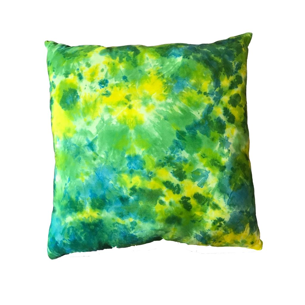 Silk Pillow Cover (Green, Yellow and Turquoise)