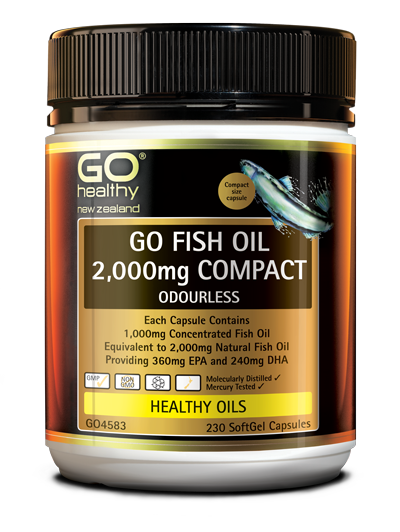 GO Healthy Fish Oil 2000 Compact Odourless 230 Softgel Capsules