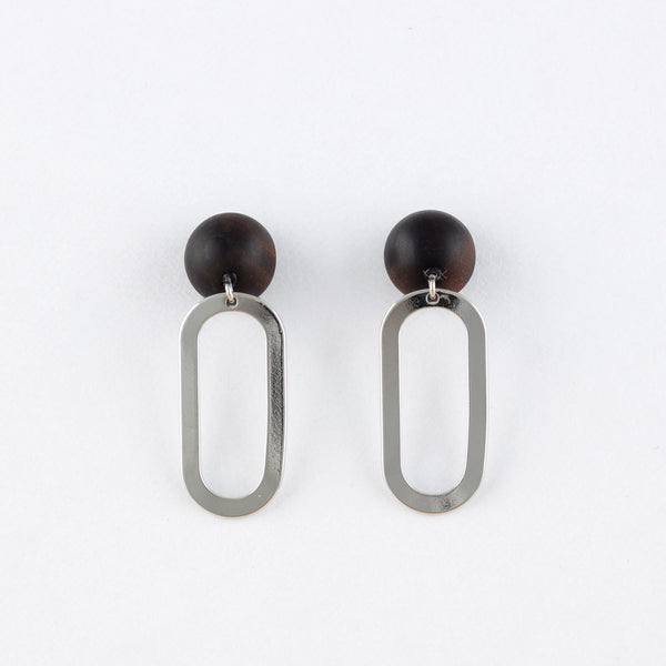 Kyu x Oval Earrings Ebony Titanium