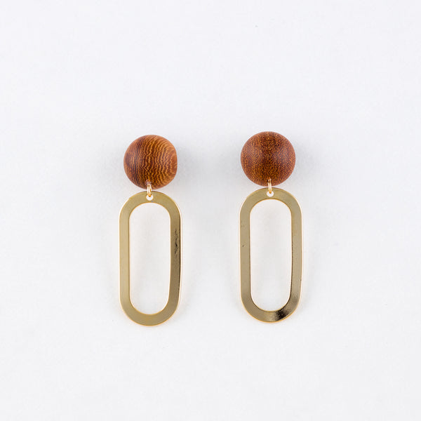 Kyu x Oval Earrings Rosewood 14Kgf