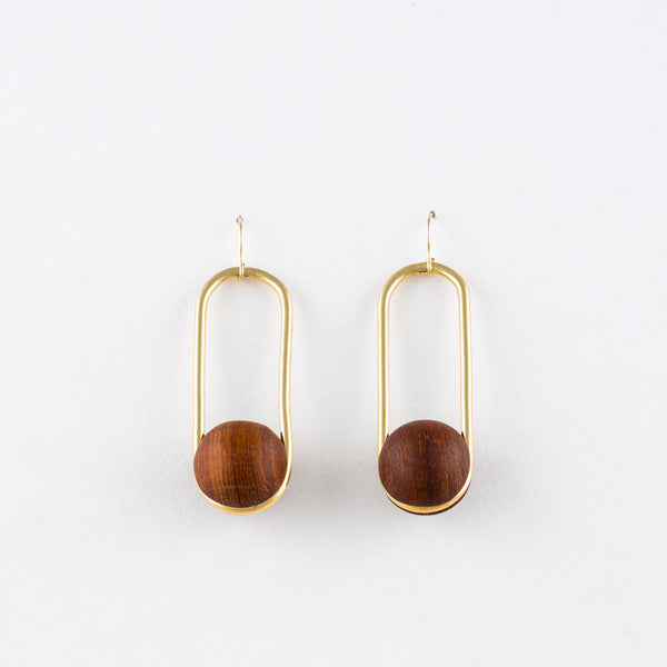 Oval Earrings Rosewood 14Kgf