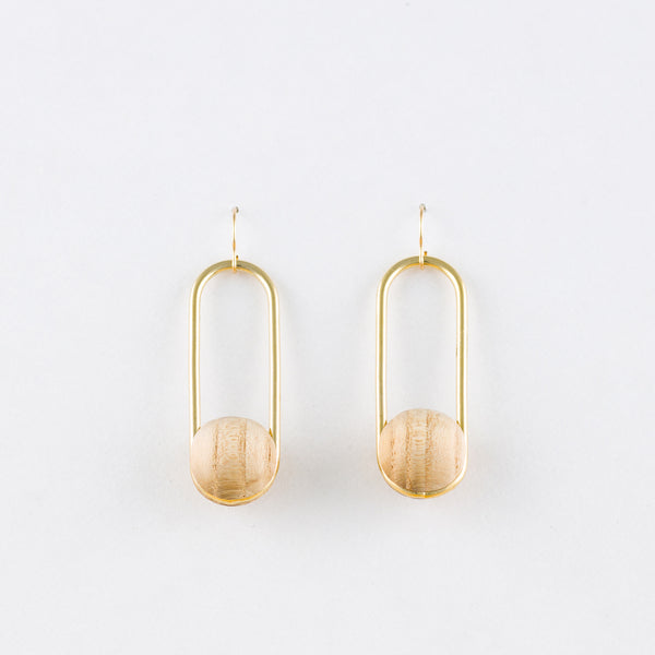 Oval Earrings White Ash Gold 14Kgf