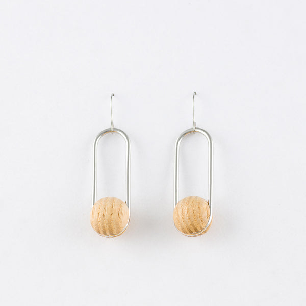 Oval Earrings White Ash Silver Surgical Stainless Steel