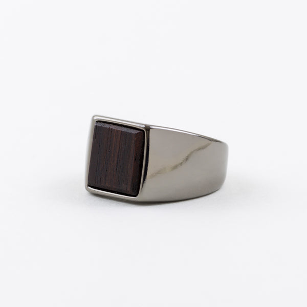 Square Ring Ebony Silver-Plating
