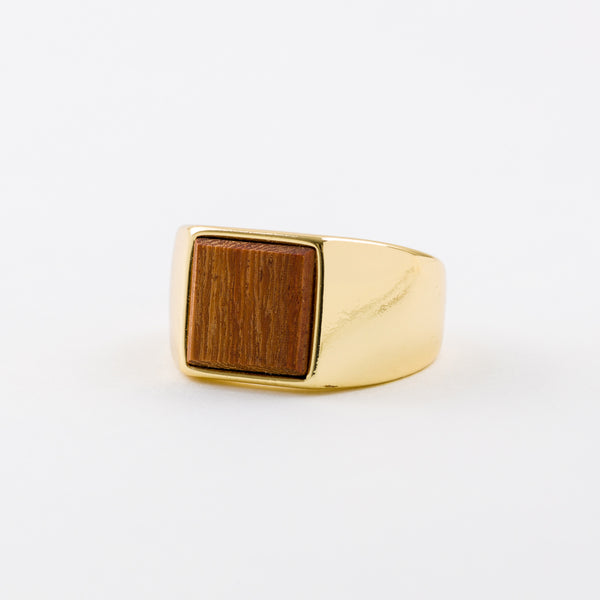 Square Ring Rosewood Gold-Plating