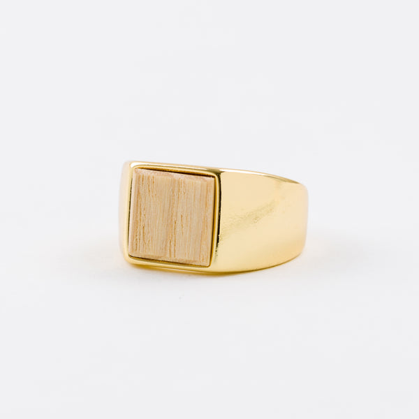 Square Ring White Ash Gold Gold-Plating