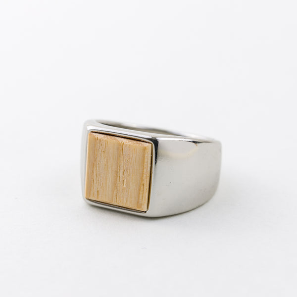 Square Ring White Ash Silver Silver-Plating