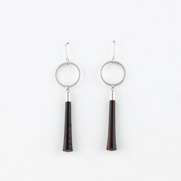 Tassel Earrings Ebony Surgical Stainless Steel