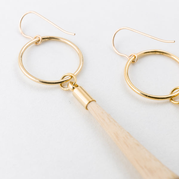 Tassel Earrings White Ash Gold 14Kgf