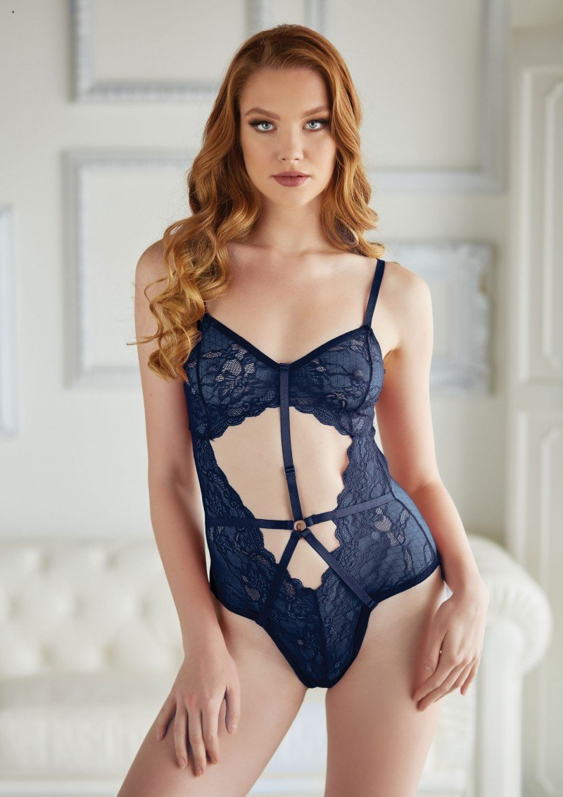 Lace and Mesh Teddy | Blue