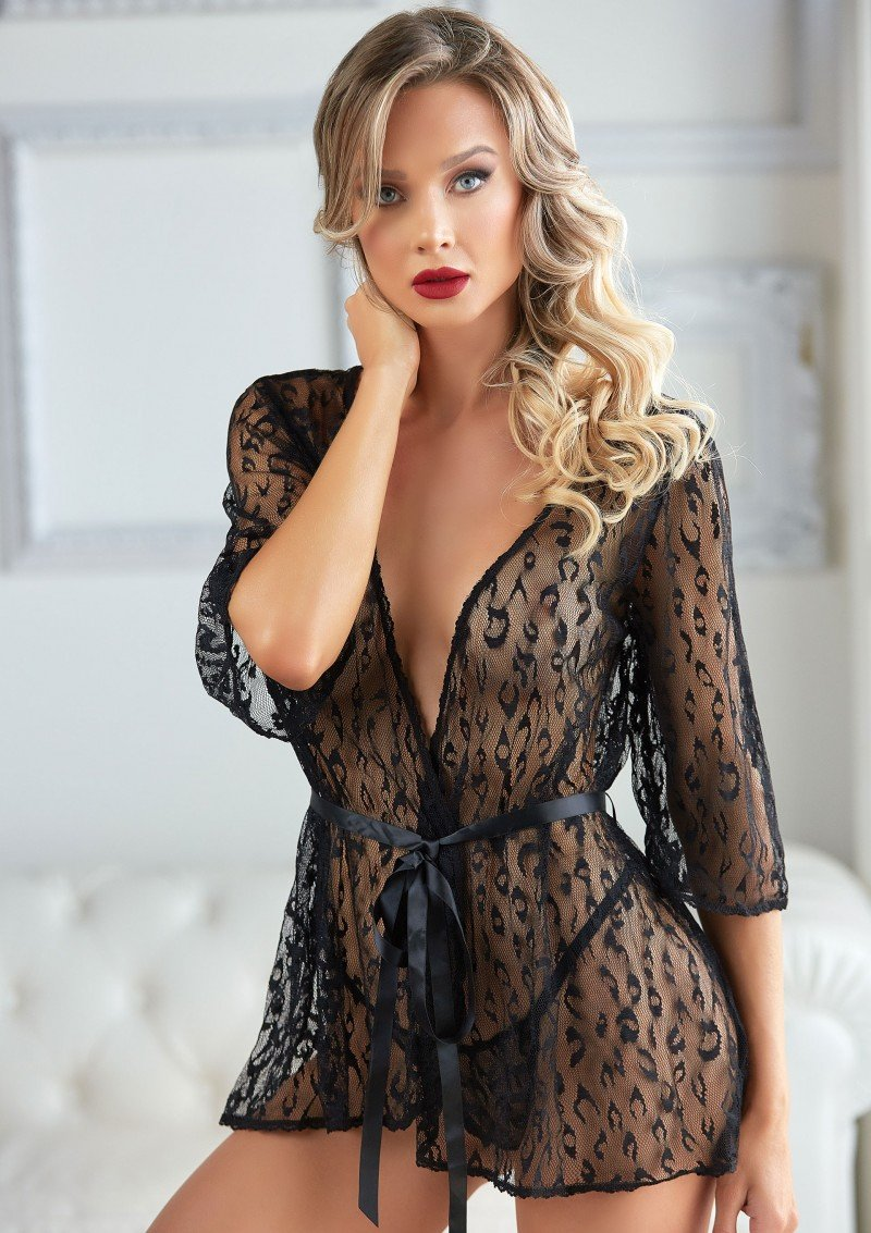 Leopard Lace Robe with String | OS