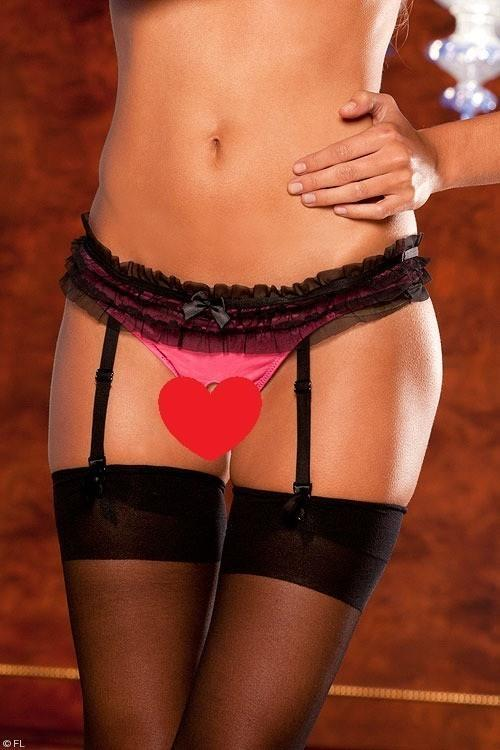 Merry See Pink, crotchless garter with stockings