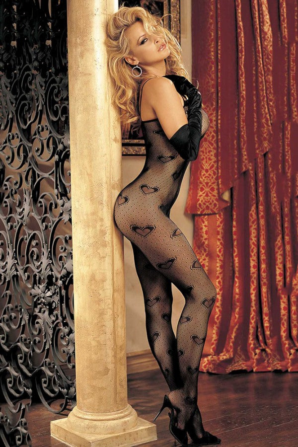 Merry See Sexy Heart Patterned Body Stocking