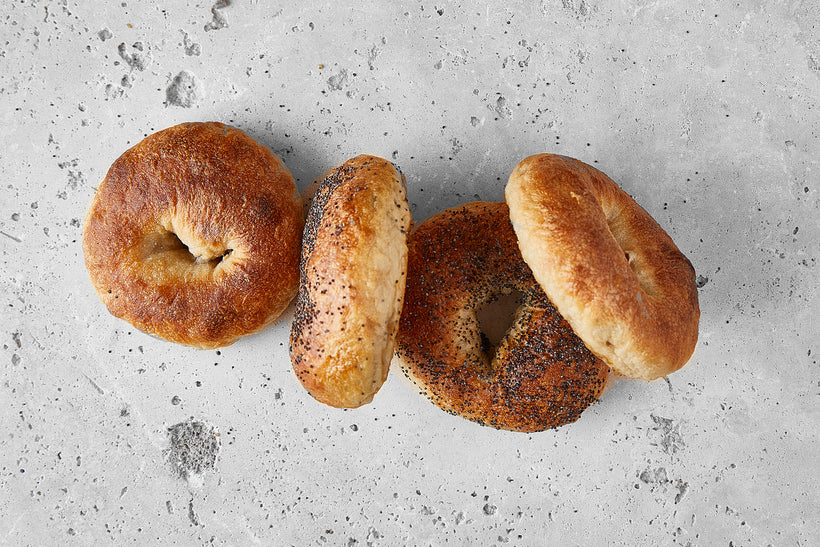 'Loaf Cuff' Sourdough Bagels - 2 Plain & 2 Poppy Seed