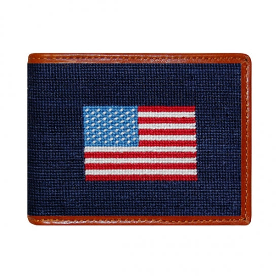 American Flag Needlepoint Bi-Fold Wallet