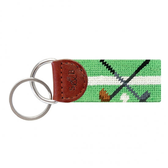 Crossed Clubs Needlepoint Key Fob
