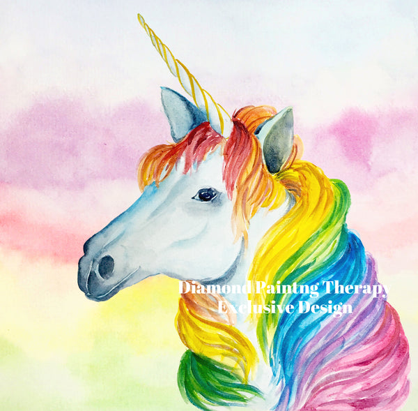 Watercolor Unicorn BY Hopeapucay 40 by 40 CM- Full Drill Crystal Rhinestone