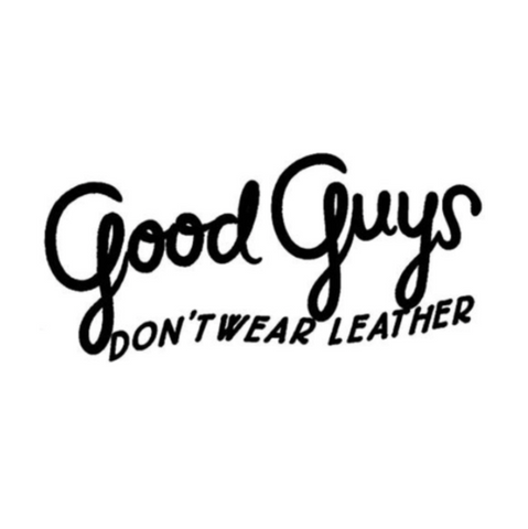 good guys don't wear leather -  logo marque chaussures bottes babies vegan