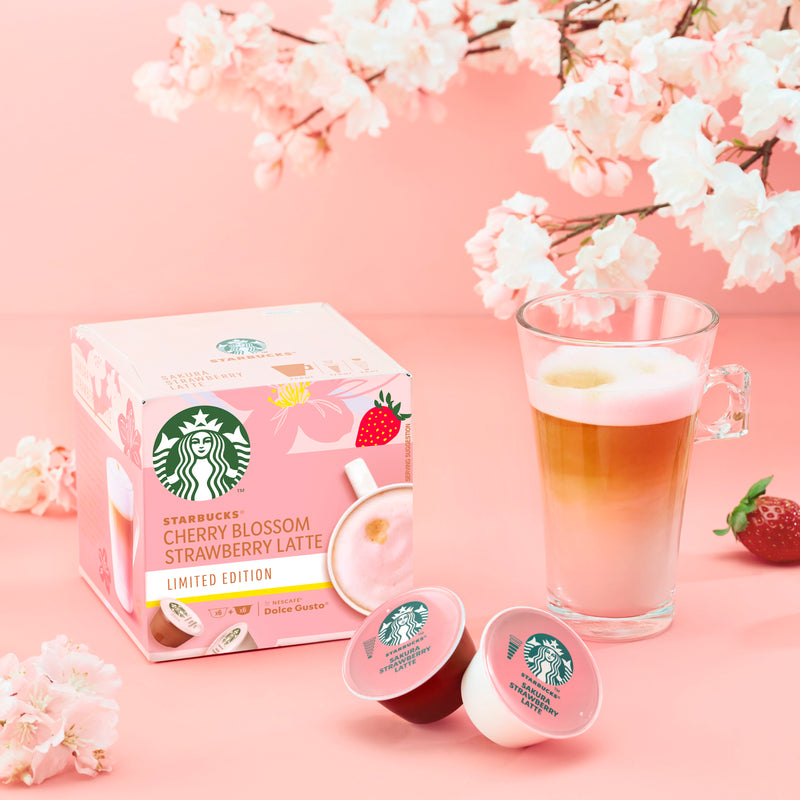 Starbucks ® by NESCAFÉ® Dolce Gusto® Cherry Blossom Strawberry Latte Coffee Capsules