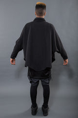 BUTTON UP BATWING WOOL PONCHO, TAR M/L - Button Up - STREETWEAR - NYC - MOVES