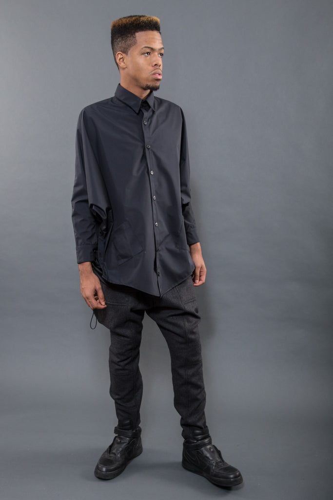 BUTTON UP BATWING PONCHO, WATERPROOF NYLON - Button Up - STREETWEAR - NYC - MOVES