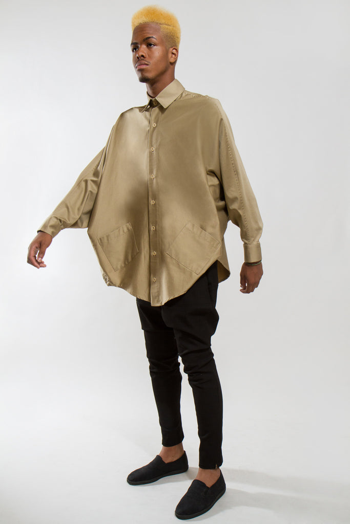 BUTTON UP BATWING PONCHO, DIRT M/L - Button Up - STREETWEAR - NYC - MOVES
