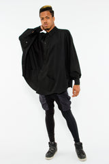 BUTTON UP BATWING PONCHO, TAR M/L - Button Up - STREETWEAR - NYC - MOVES