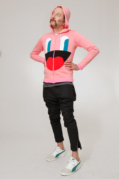 EMPATHETIC EYES MENS ZIP UP SWEATSHIRT PINK - Sweatshirt - STREETWEAR - NYC - MOVES