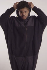 Long Polar Fleece Zip Up with Waterproof Nylon Panels - TAR - Jacket - STREETWEAR - NYC - MOVES