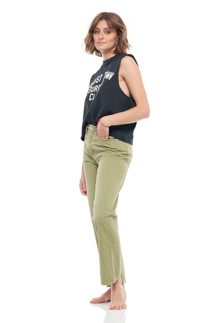 The Ana Rigid Denim Straight Fit Pants in Khaki