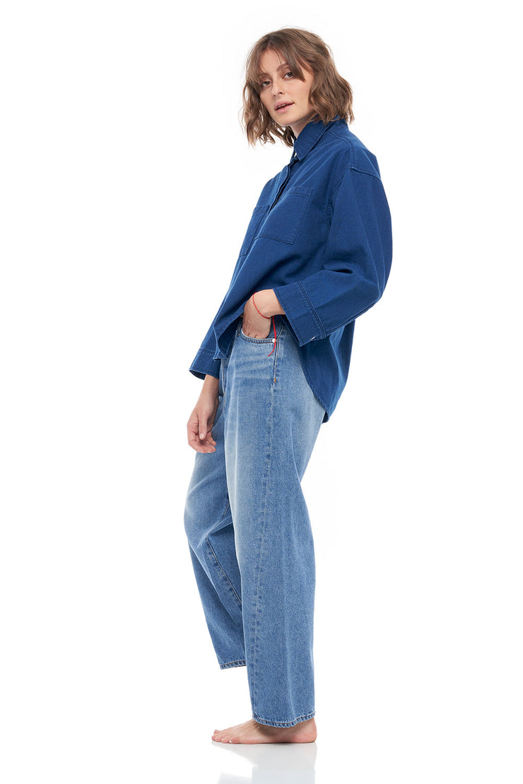 The Fred Rigid Denim Wide Pants in Lagoon Blue