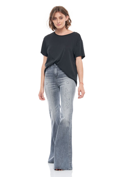 The Rosie Super Flare Stretch Denim Pants in Light Black