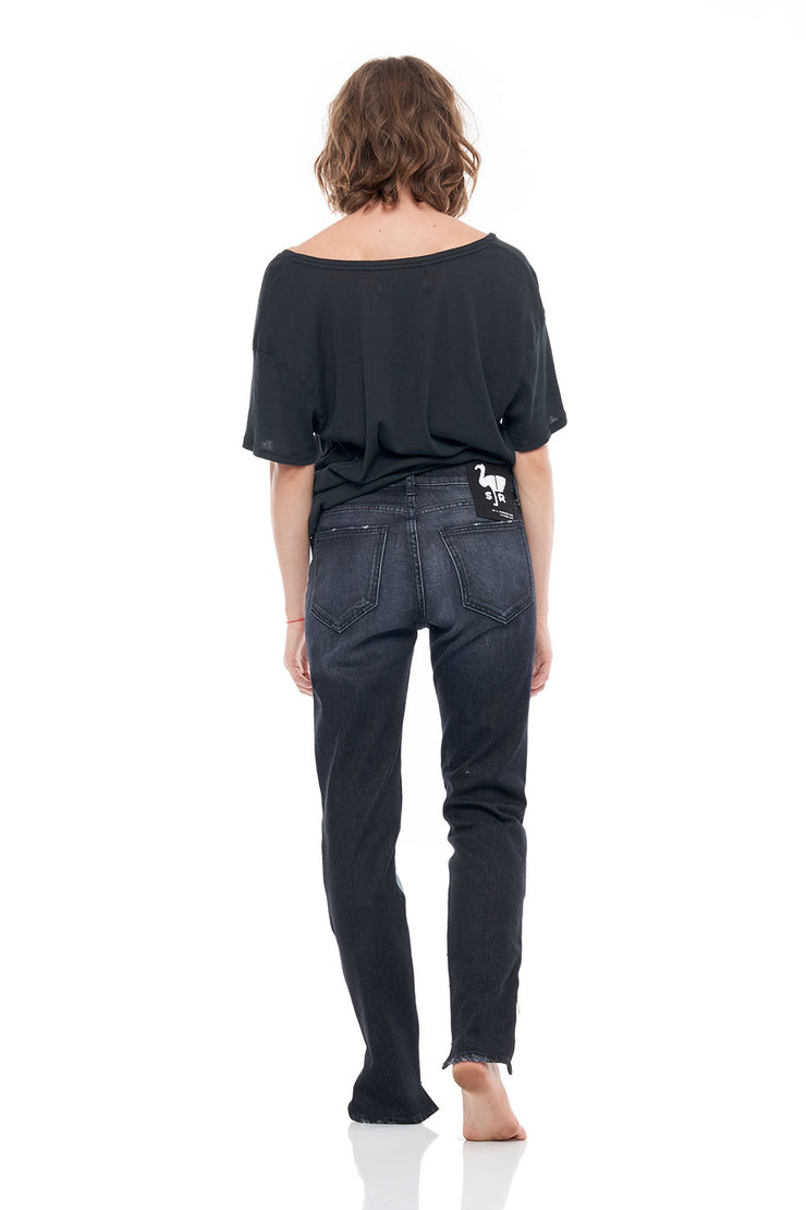 The Hyde Skinny Size Zip Stretch Denim Pants in Black
