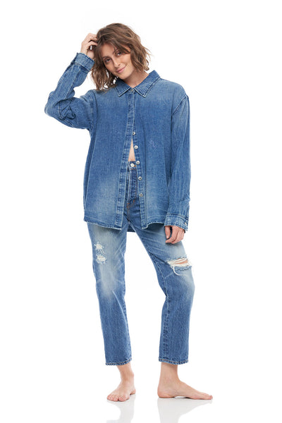 Caribbean Front Button Denim Shirt in Indigo Blue