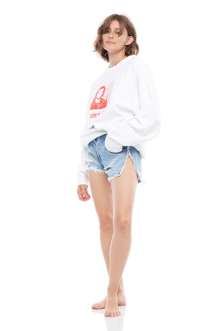 Love You To Death Oversized Crew Pull Over in White
