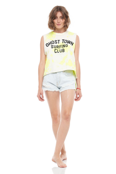 Ghost Town Surfing Club Short Hem Tank in Tie Dye Yellow