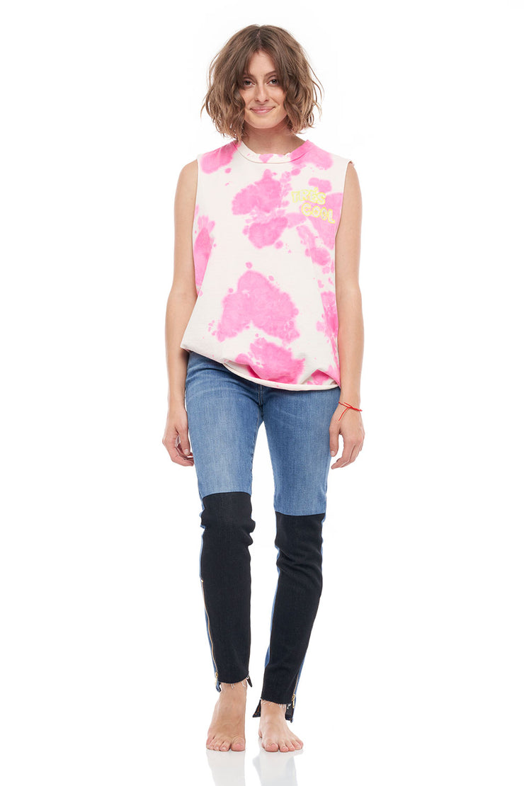 Tre's Cool Crew Neck Tank Top in Tie Dye