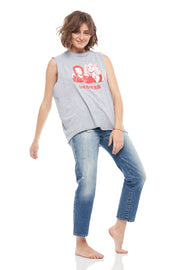Love You To Death Crew Neck Tank Top in Heather Grey