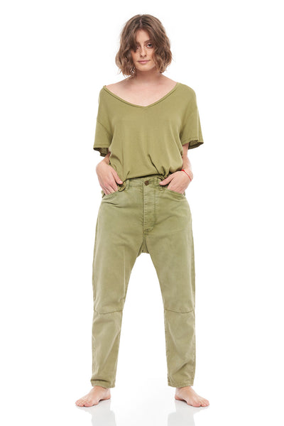 V-Neck Cashmere Rib Short Sleeve Tee in Khaki