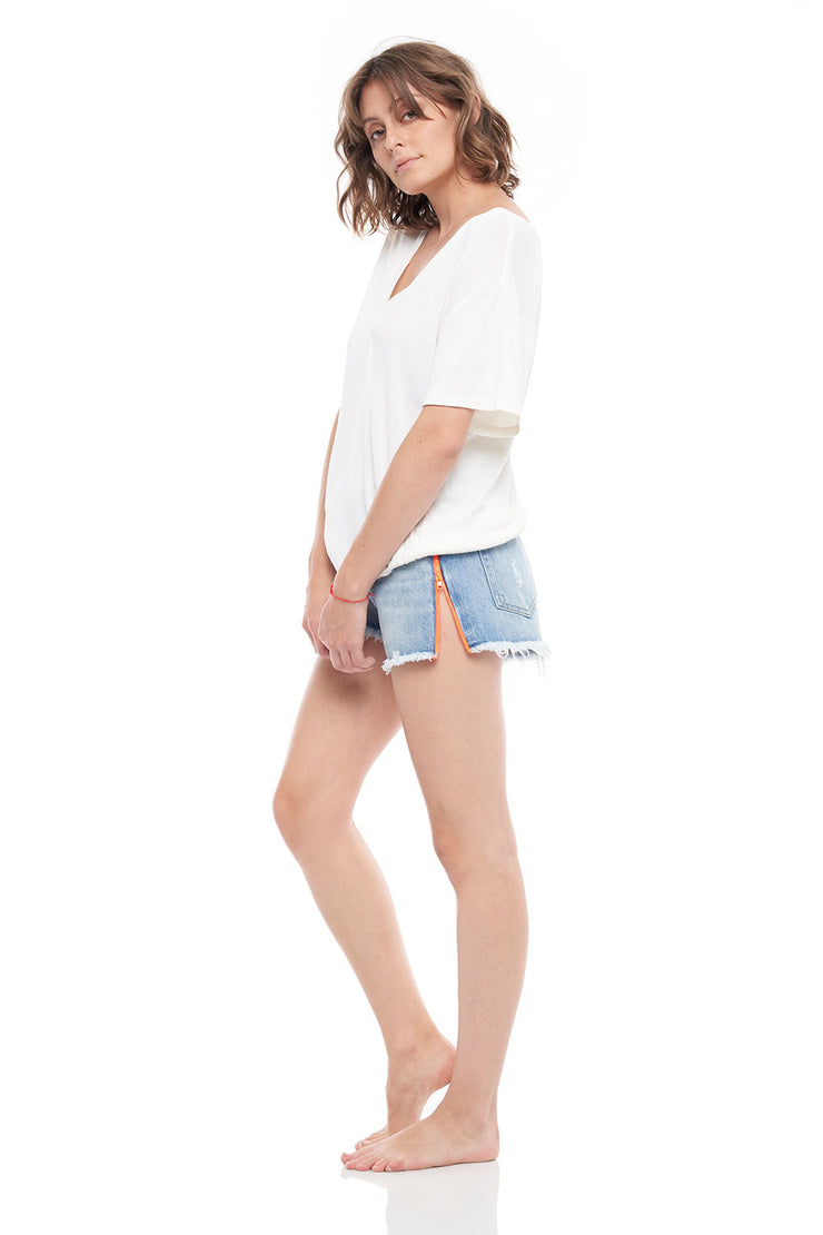 V-Neck Cashmere Rib Short Sleeve Tee in White