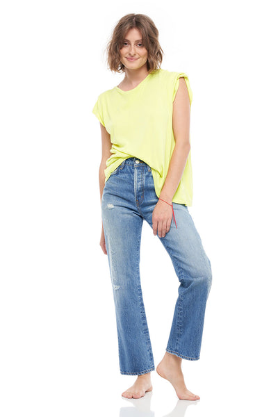 The Ana Crew Neck Short Sleeve Cashmere Tee in Yellow