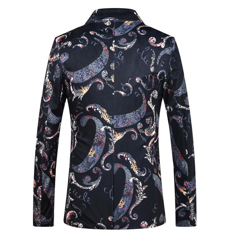 Men's Vintage Style Printed Party/Wedding/Dress Lapel Blazer 900020600030 - kiyomall
