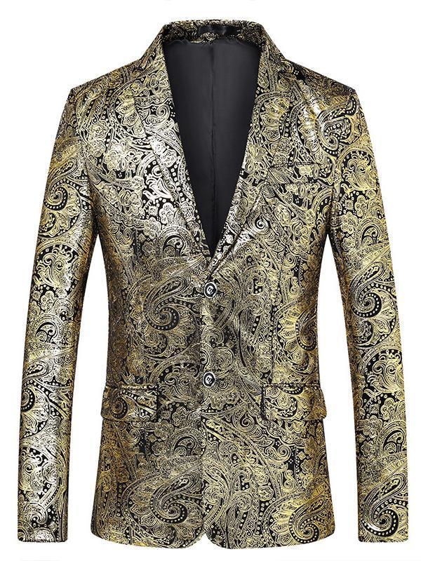 Men's Court Style Gold Stamping Printed Party/Wedding/Dress Lapel Blazer 900010600030 - kiyomall