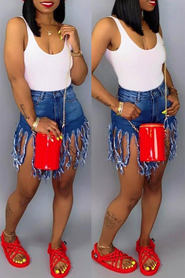 Damien Fringed Cut Off Shorts