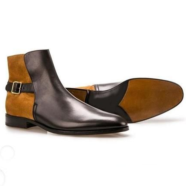 Leather Front and Suede Heel Side Buckle Monk Strap Slipon Men Boots